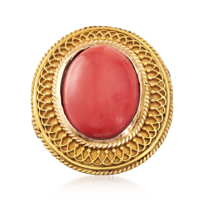 C. 1970 Vintage Coral Ring in 18kt Yellow Gold. Size 5, , default
