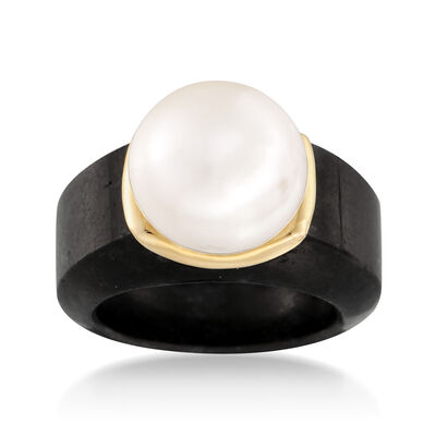13-13.5mm Cultured Pearl Ring in Black Jade and 14kt Yellow Gold