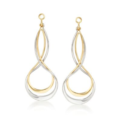 Sterling Silver and 14kt Yellow Gold Earring Jackets, , default