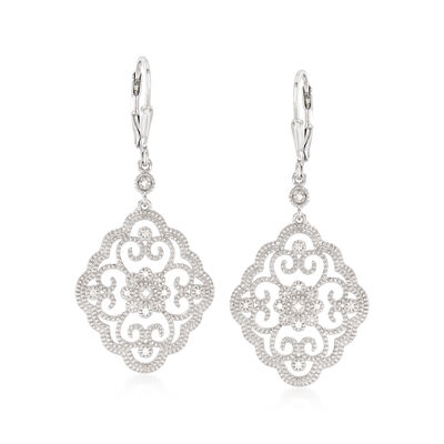 .20 ct. t.w. Diamond Openwork Drop Earrings in Sterling Silver