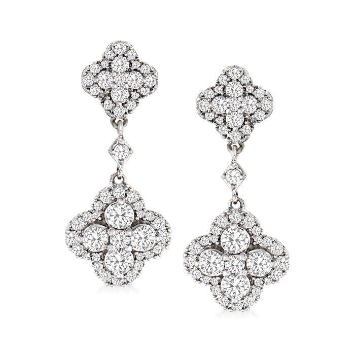 1.50 ct. t.w. Diamond Clover-Shaped Drop Earrings in Sterling Silver