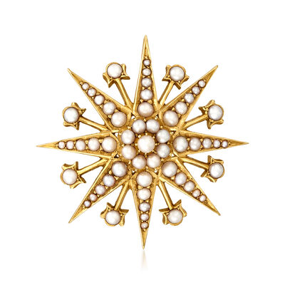 C. 1920 Vintage Cultured Pearl Starburst Pin in 15kt Yellow Gold