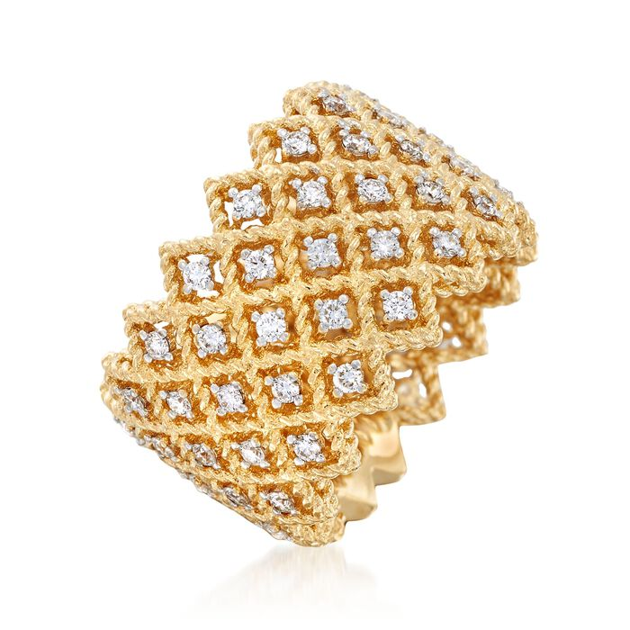 """Roberto Coin """"Barocco"""" 1.10 ct. t.w. Diamond Five-Row Ring in 18kt Yellow Gold"""
