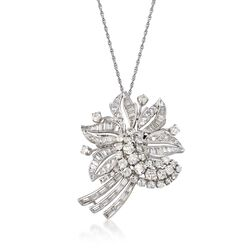 "C. 1960 Vintage 6.50 ct. t.w. Diamond Floral Pin Pendant Necklace in 14kt White Gold. 18"", , default"