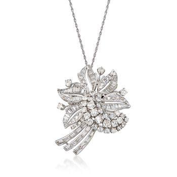 "C. 1960 Vintage 6.50 ct. t.w. Diamond Floral Pin Pendant Necklace in 14kt White Gold. 18"", , default"