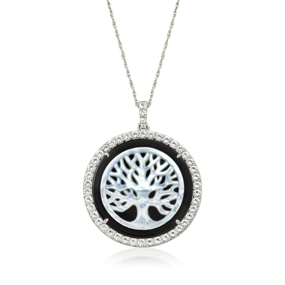 Mother Of Pearl And Black Onyx Tree Of Life Necklace With 269 Ct