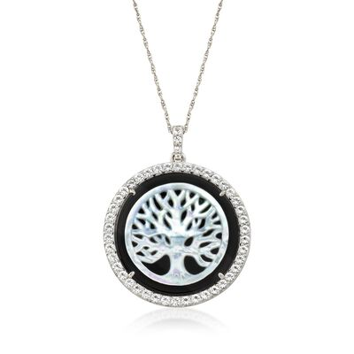 Mother-Of-Pearl and Black Onyx Tree of Life Necklace with 2.69 ct. t.w. White Topaz in Sterling, , default