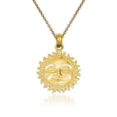 14kt Yellow Gold Sun Pendant Necklace, , default