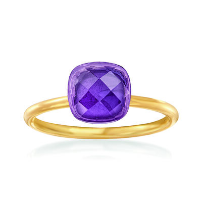 2.80 Carat Amethyst Ring in 14kt Yellow Gold, , default