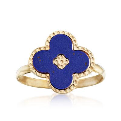 Italian Blue Enamel Beaded Floral Ring in 14kt Yellow Gold, , default