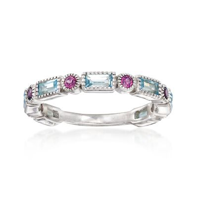 1.40 ct. t.w. Sky Blue Topaz and .50 ct. t.w. Rhodolite Garnet Ring in Sterling Silver, , default