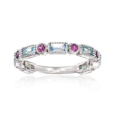 1.40 ct. t.w. Sky Blue Topaz and .50 ct. t.w. Rhodolite Garnet Ring in Sterling Silver, , default