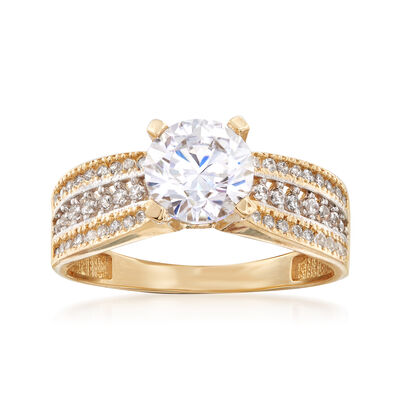 1.55 ct. t.w. CZ Triple-Row Ring in 14kt Yellow Gold, , default