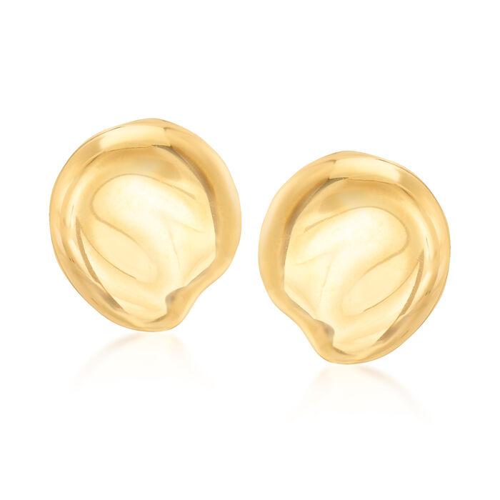 """C. 1980 Vintage Tiffany Jewelry """"Elsa Peretti"""" 18kt Yellow Gold Teardrop Clip-On Earrings"""