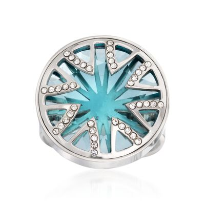 What's Your Sign? Simulated Blue Topaz and Rhinestone Starburst Ring  in Stainless Steel, , default