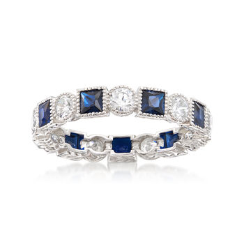 Square Simulated Sapphire and 1.40 ct. t.w. CZ Eternity Band in Sterling Silver, , default