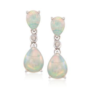 Opal Double Drop Earrings With Diamonds in Sterling Silver, , default