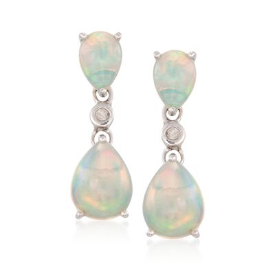 Opal Double Drop Earrings With Diamonds in Sterling Silver, , default
