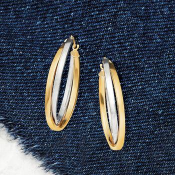 """14kt Two-Tone Double-Oval Hoop Earrings. 1 1/8"""""""