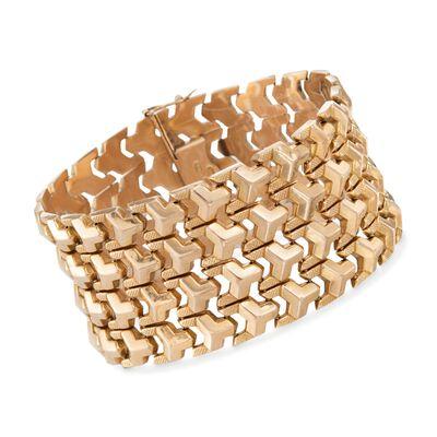 C. 1950 Vintage 18kt Yellow Gold Wide Geometric Link Bracelet, , default