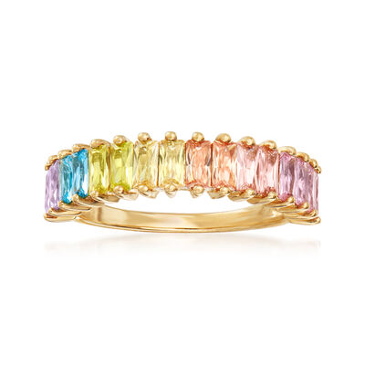 2.24 ct. t.w. Multicolored CZ Ring in 18kt Gold Over Sterling