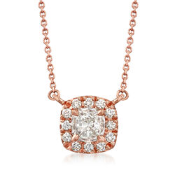 Henri Daussi .50 ct. t.w. Diamond Halo Necklace in 18kt Rose Gold  , , default