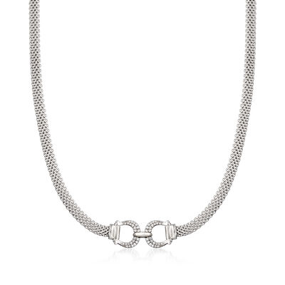 .20 ct. t.w. CZ Horsebit Necklace in Sterling Silver
