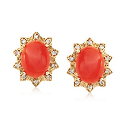 Coral and .14 ct. t.w. Diamond Stud Earrings in 18kt Yellow Gold, , default