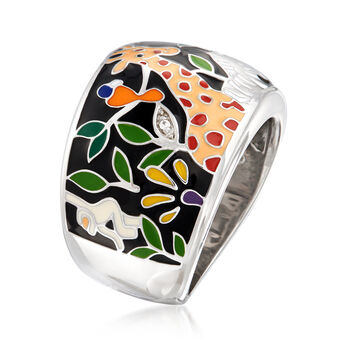 """Belle Etoile """"Serengeti"""" Black and Multicolored Enamel Ring with CZ Accents in Sterling Silver. Size 7"""