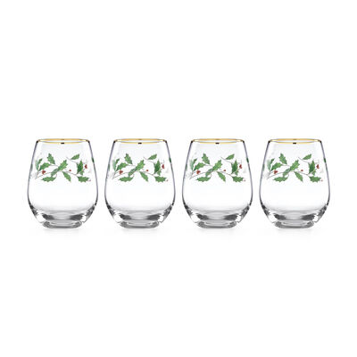 "Lenox ""Holiday"" Set of 4 Decal Stemless Wine Glasses, , default"
