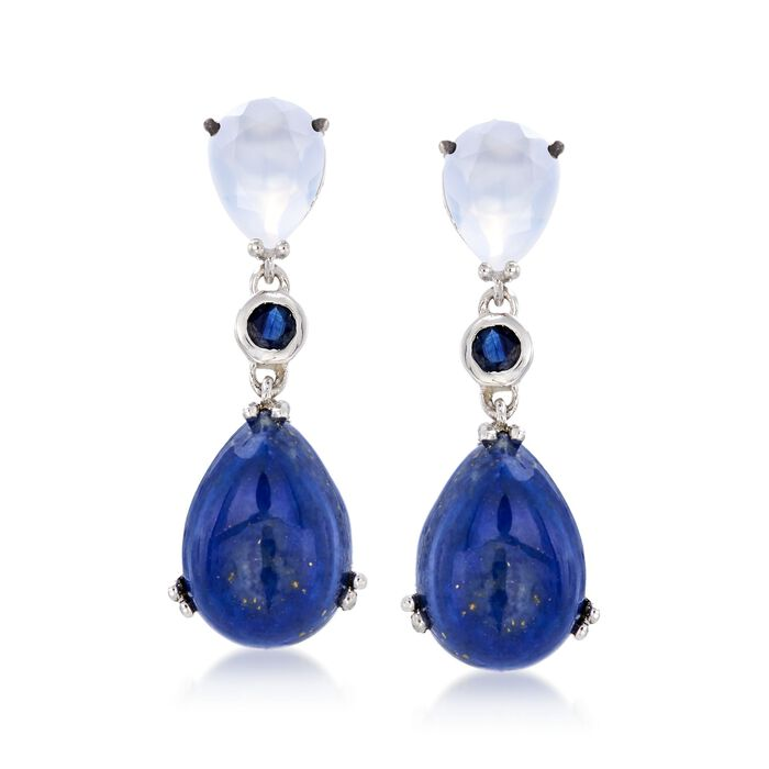 Lapis and White Chalcedony Drop Earrings With .20 ct. t.w. Sapphires in Sterling , , default