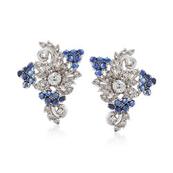 C. 1950 Vintage 2.50 ct. t.w. Sapphire and 2.20 ct. t.w. Diamond Floral Clip-On Earrings in Platinum, , default