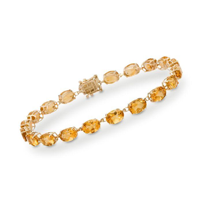 "19.50 ct. t.w. Citrine Tennis Bracelet in 14kt Yellow Gold. 8"", , default"