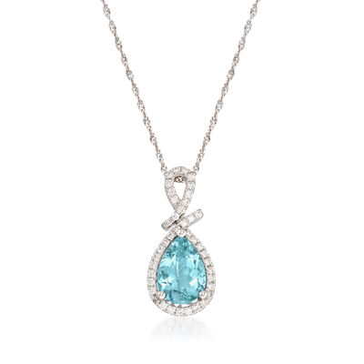 1.40 Carat Aquamarine and .21 ct. t.w. Diamond Pendant Necklace in 14kt White Gold, , default