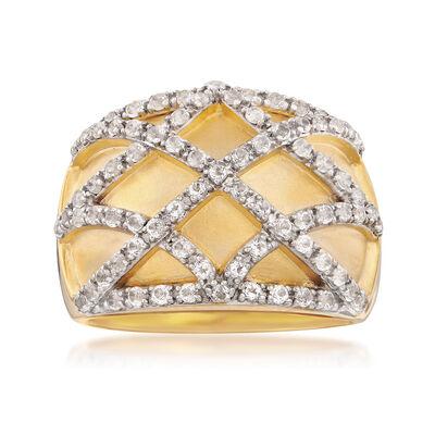 .90 ct. t.w. White Topaz Crisscross Ring in 18kt Gold Over Sterling