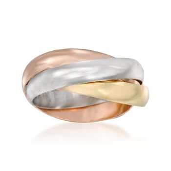 14kt Tri-Colored Gold Over Sterling Silver Rolling Ring, , default