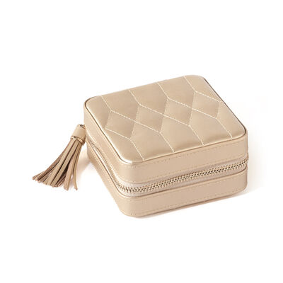"Wolf Designs ""Caroline"" Champagne Zippered Travel Jewelry Case, , default"