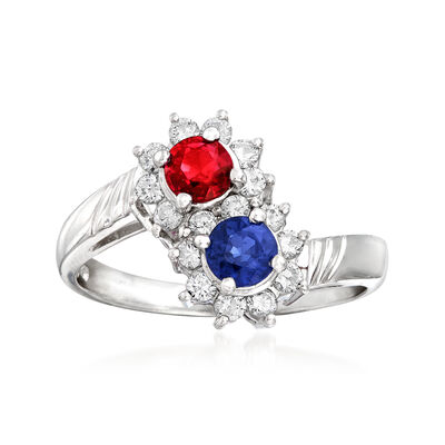 C. 1990 Vintage .48 Carat Sapphire, .44 Carat Ruby and .40 ct. t.w. Diamond Bypass Ring in Platinum, , default
