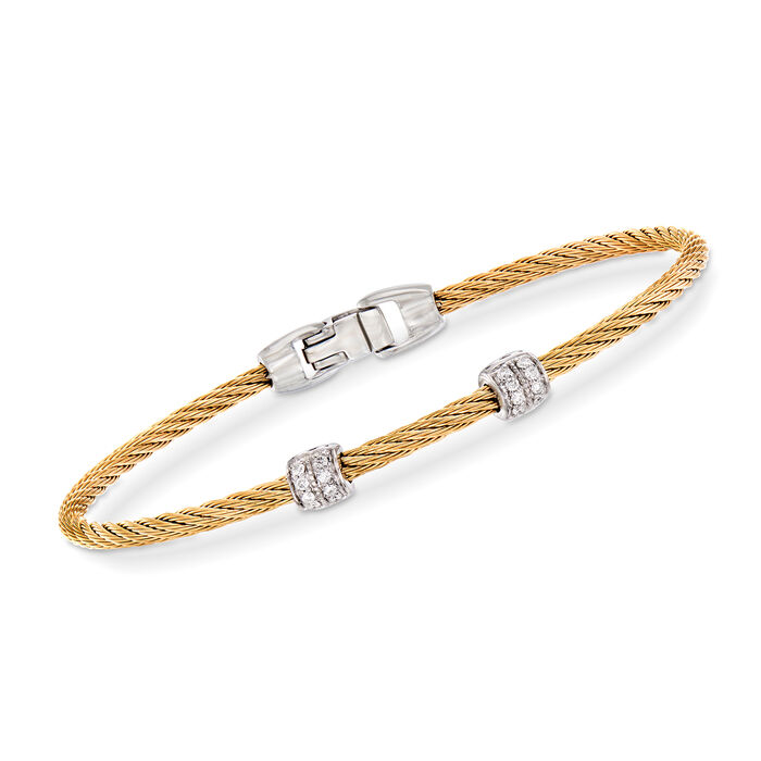 "ALOR ""Classique"" .13 ct. t.w. Diamond Yellow Stainless Steel Cable Bracelet with 18kt White Gold. 7"""