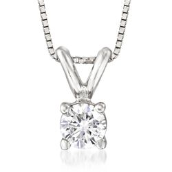 ".20 Carat Diamond Solitaire Necklace in 14kt White Gold. 18"", , default"