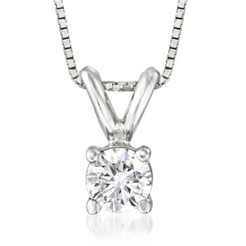 """.20 Carat Diamond Solitaire Necklace in 14kt White Gold. 18"""", , default"""