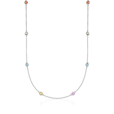 2.40 ct. t.w. Multicolored Sapphire Station Necklace in  Sterling Silver