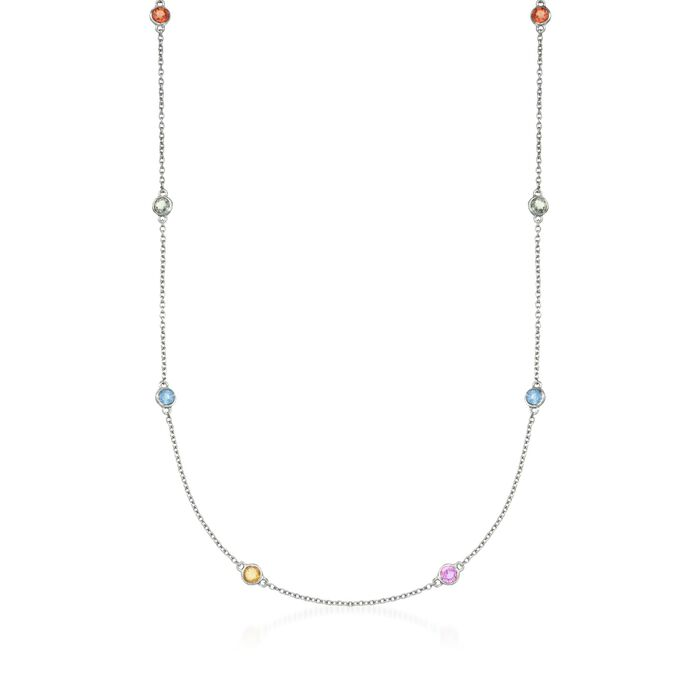 2.40 ct. t.w. Multicolored Sapphire Station Necklace in  Sterling Silver, , default