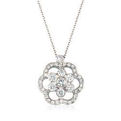 "Kwiat ""Oasis"" .53 ct. t.w. Diamond Open Flower Necklace in 18kt White Gold. 16"", , default"