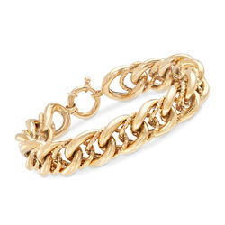Italian 18kt Yellow Gold Textured and Polished Curb-Link Bracelet, , default