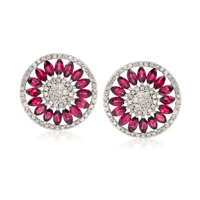 2.20 ct. t.w. Ruby and .70 ct. t.w. Diamond Earrings in 14kt White Gold , , default