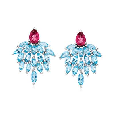 7.22 ct. t.w. Sky Blue and Pink Topaz Drop Earrings in Sterling Silver