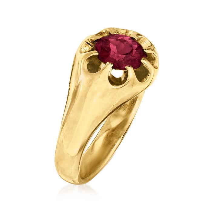 C. 1970 Vintage 1.10 Carat Rhodolite Garnet Ring in 14kt Yellow Gold