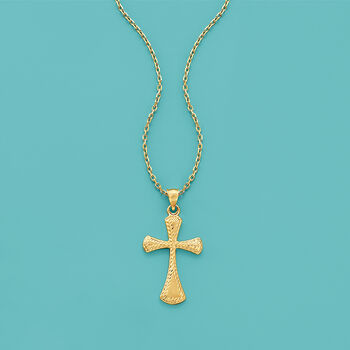 22kt Yellow Gold Cross Pendant Necklace, , default