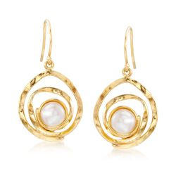 7-7.5mm Cultured Pearl Swirl Drop Earrings in 18kt Gold Over Sterling , , default